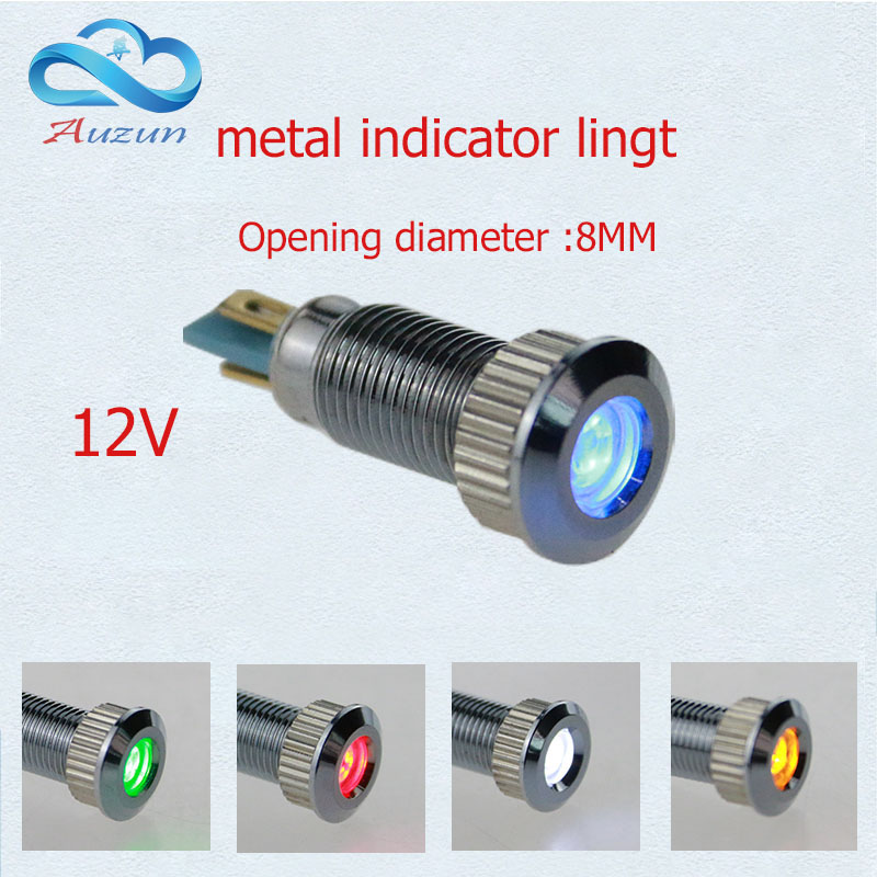 10 PCS metal Indicator light  8 mm metal lamp voltage 12 v warning vehicle lamp red green yellow blue and white