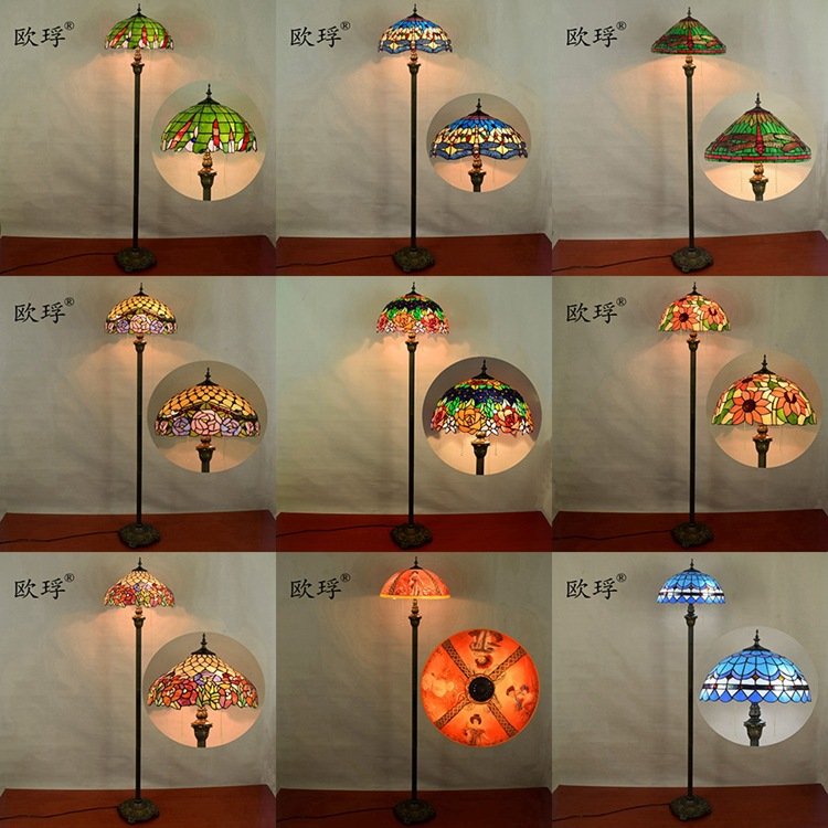 European dragonfly Stained Glass floor lamp for dining room bedroom lamp E27 110-240V
