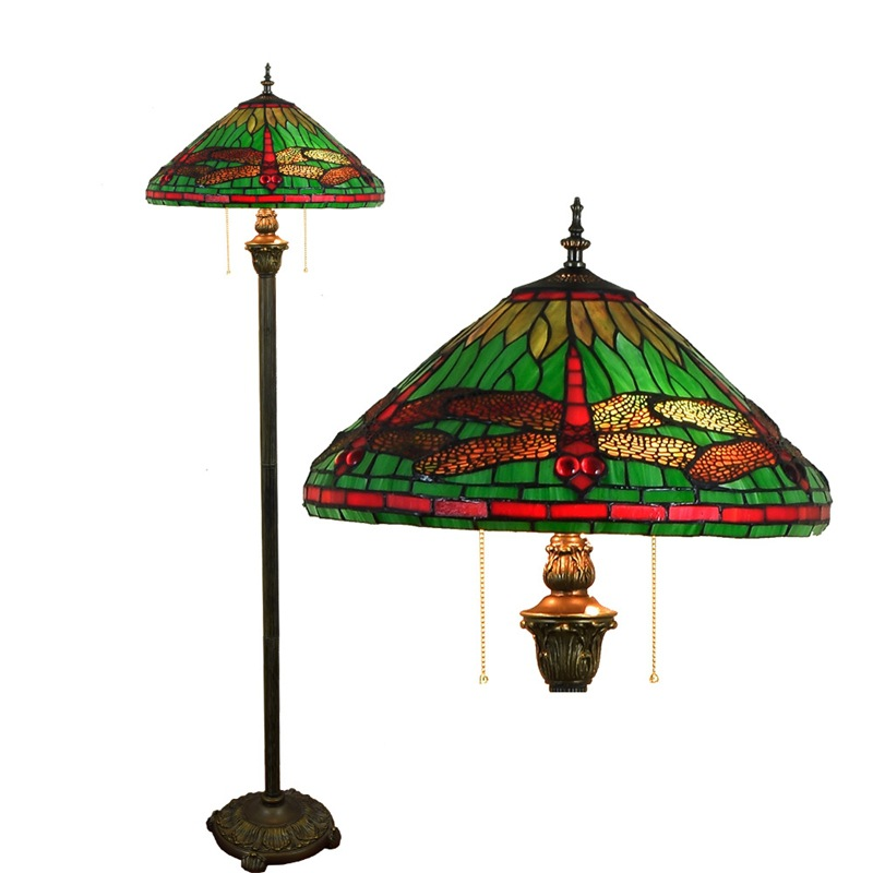 American style garden color glass Mediterranean Sea living room Restaurant Bedroom floor lamp Green Dragonfly roses lights E27