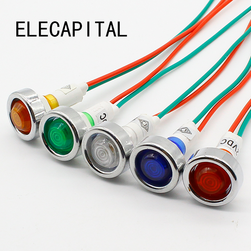 10pcs 10mm 12V LED indicator light with 18cm wire sigal lamp