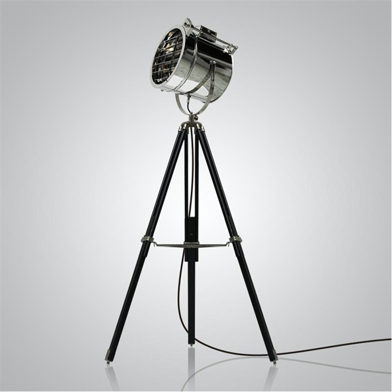 BDBQBL Nordic American Creative Studio Retro Industrial Bar Floor Lights E27 Tripod Searchlight Additional Net LED Floor Lamp