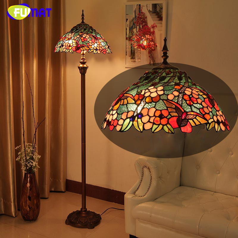 FUMAT European Tiffany Stained Glass Floor Lamps Home Decor Butterfly shade Floor Lights Stand For Living Room LED Floor Lamp