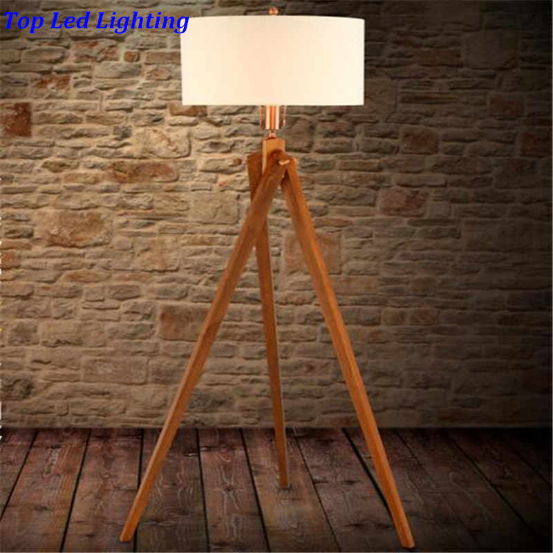 Country Fabric Wood 3 Legs  Floor Lamp for Living Room Bedroom Restaurant Fashion Wooden Floor Lamp 1186