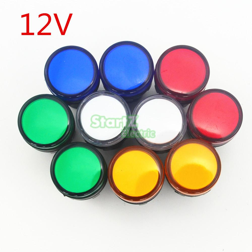 10PCS AC/DC 12V 22mm Thread LED for Electronic Indicator Signal Light Five color optional ,default red AD16-22
