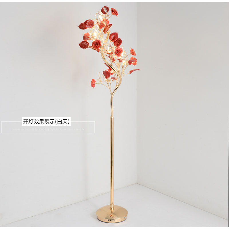 Living room floor lamps simple modern bedroom European style crystal floor lamp wind flower vertical bedside lamp villa lighting
