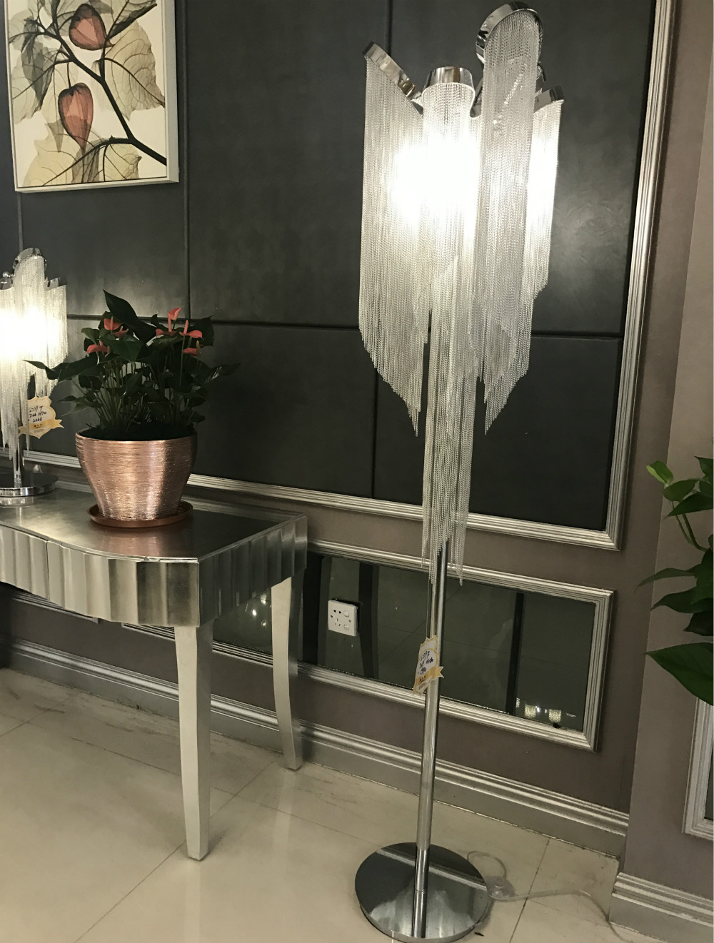 bedroom floor lamp antique aluminum tassel standing lamp stainless steel luxury floor lamp for Living room modern lighting
