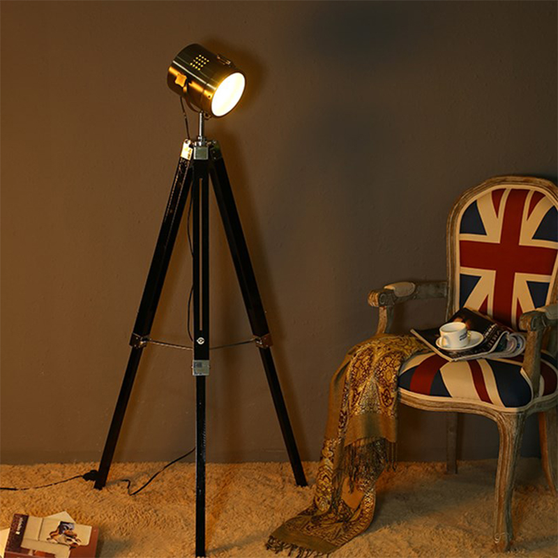 Creative wood tripod chrome floor lamp search stand lamp for living room bedroom Toolery new design art home decoration lighting