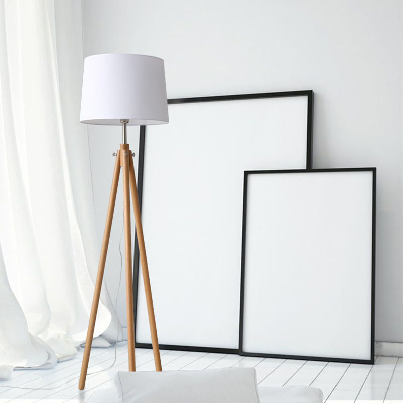 Modern Minimalist Wood Tripod standing lamp simple life Fabric Shade Creative Floor Light For Living Room Study Lighting Fixture