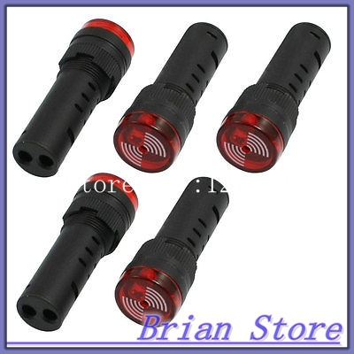 5 Pcs Signal Indicator Red LED Flashing Buzzer Black AC 12V