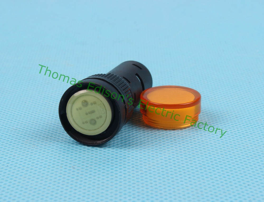 20pcs/lot LED indicator lamp dia.16mm AD16-16C LED light signal indicator AC 220V Yellow