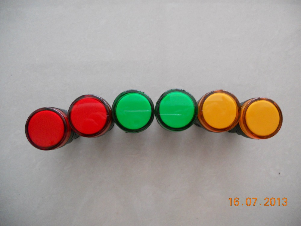 10Pc AC 220V Green/Red/Yellow  LED Accident Indicator Panel Mount Signal Lamp Pilot Light