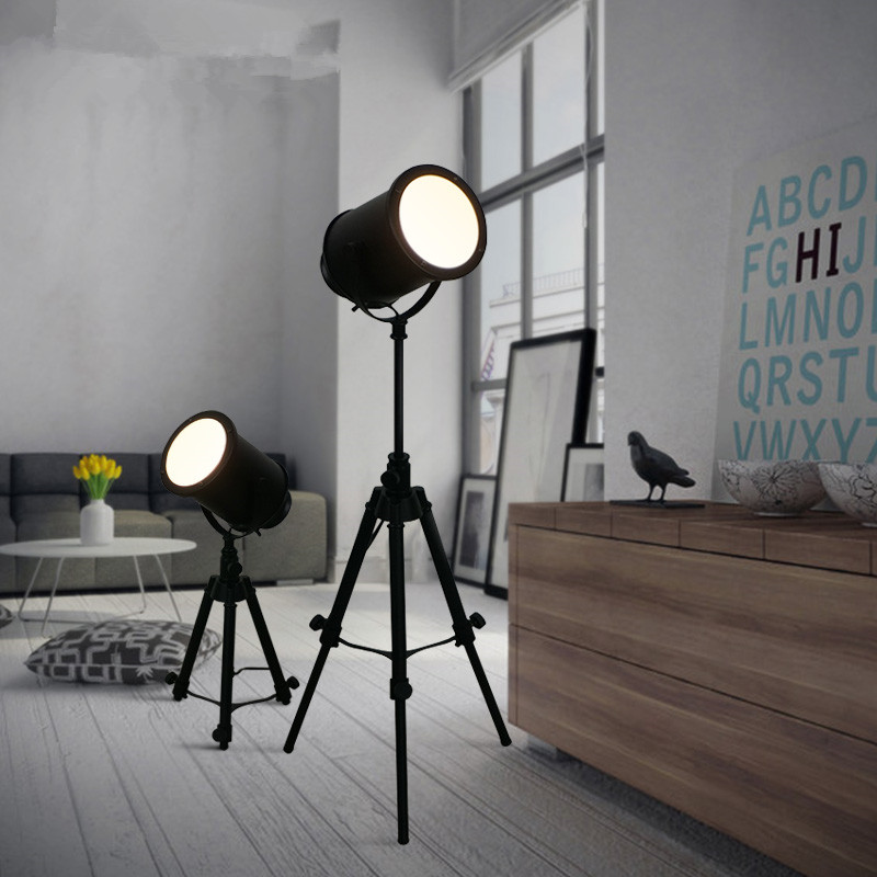 Vintage Loft Black Tripod Floor Lamp For Living Room Retro Free Lifting Standing Bedside