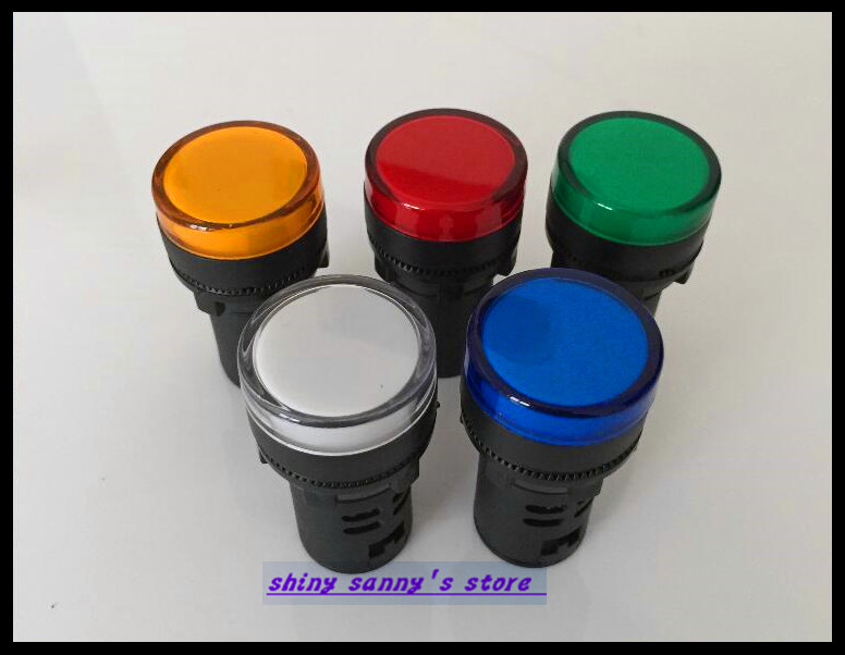15PCS/Lot  Mixed group of AC220V 22mm Diameter AD16-22 LED Power Indicator Signal Light Lamp Used For AC