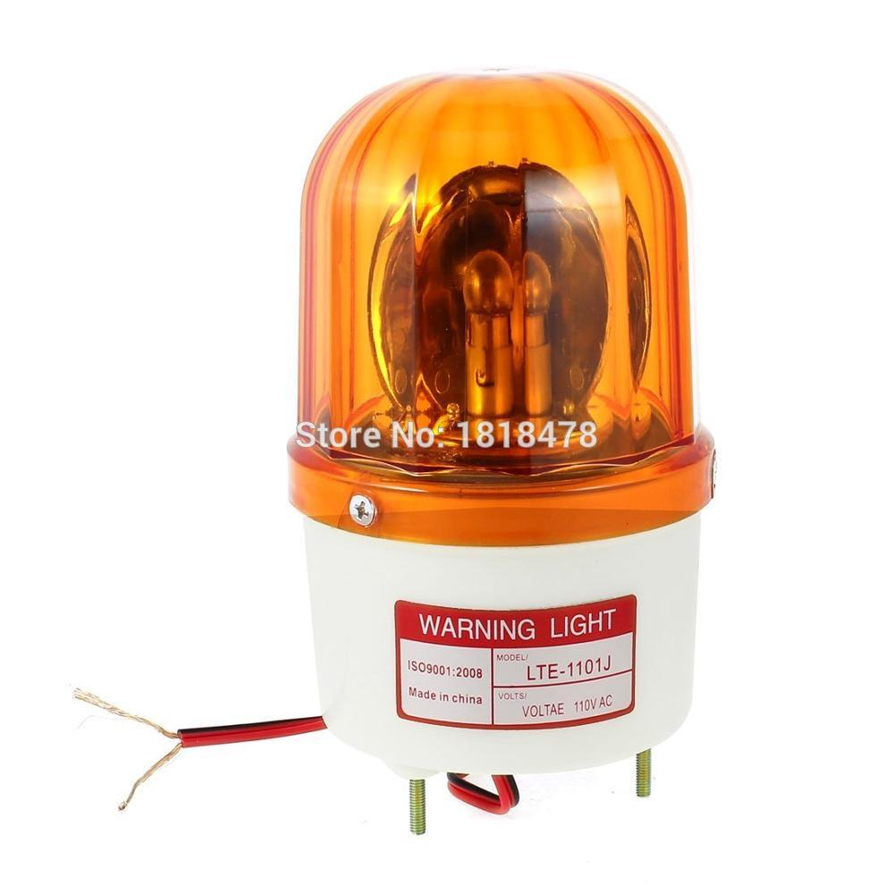LTE-1101J  Industrial AC 110V Bulb Flash Siren Rotary Warning Light Yellow