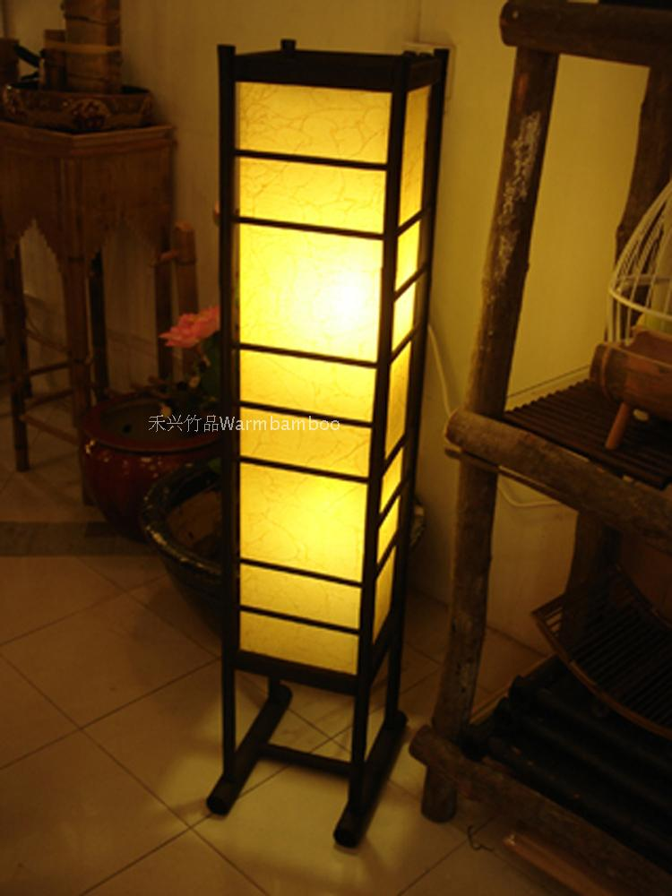 new arrival rustic chinese style floor lamp sheepskin bamboo lamps living room coffee table study light