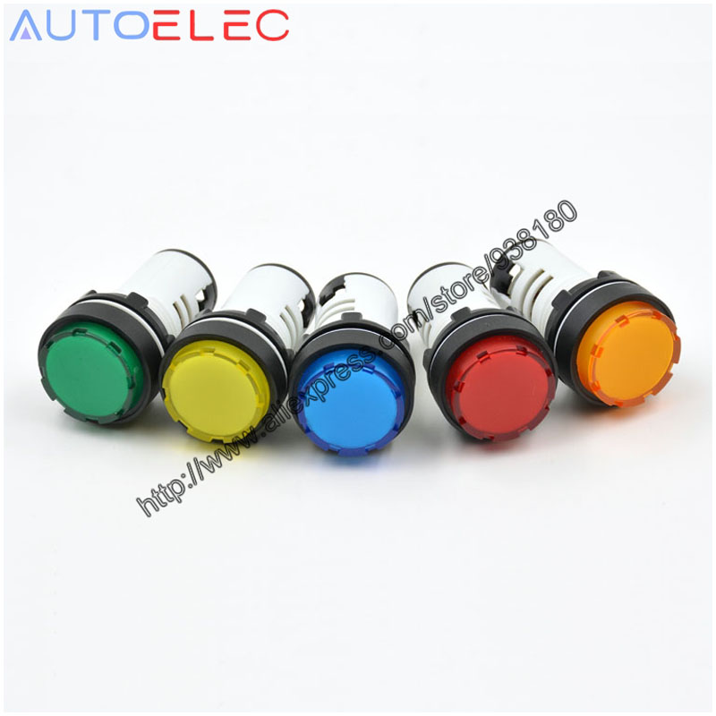 50Pcs AD136-22ES/AD22-22ES 22mm LED Indicator lights Power Indicator Light 5 color Signal Lamp for Power Distribution Cabinet
