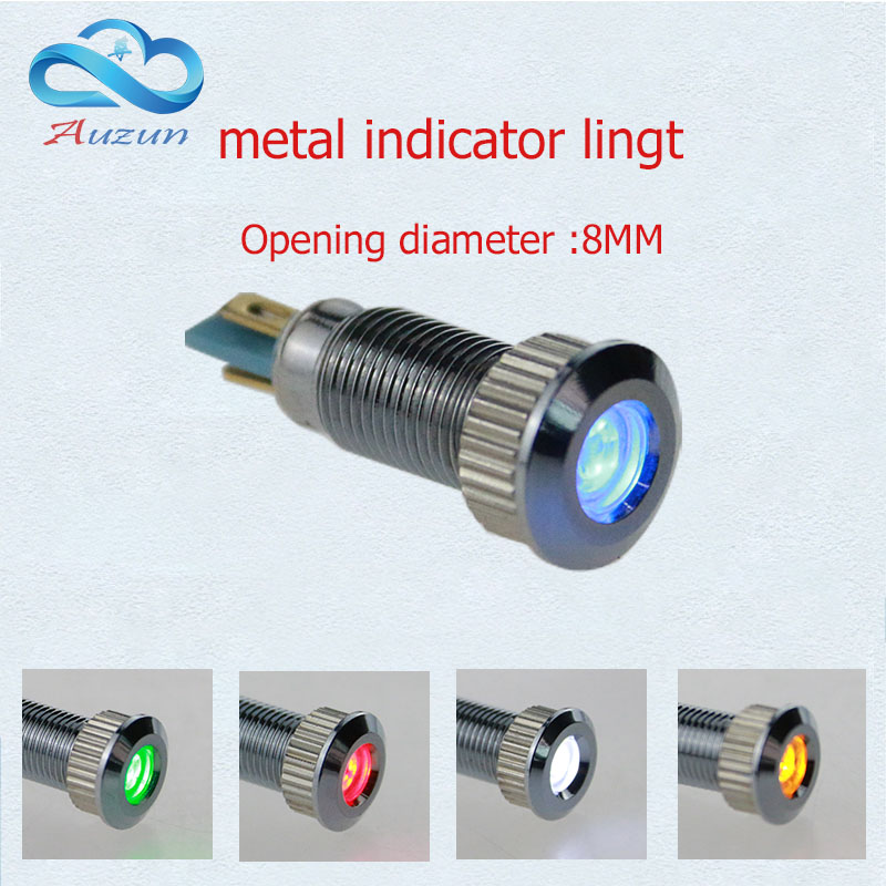 10 PCS metal Indicator light  8 mm metal lamp  warning vehicle lamp 6V.12V24V.36V.48V110V.220V voltage