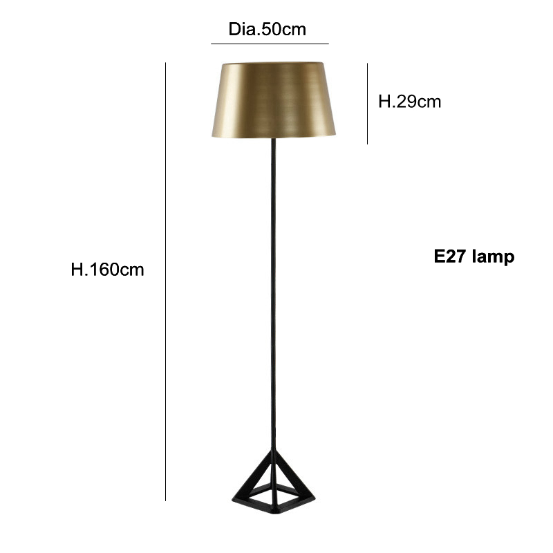 Luxury Artistic triangle LED floor lamp golden color metal body table desk light modern simplistic design novelty floor light