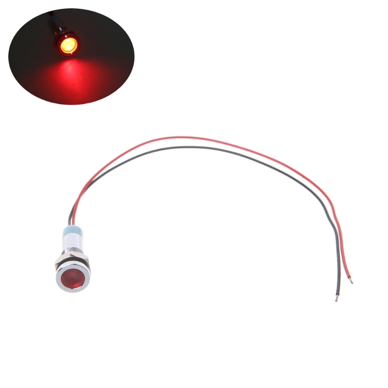 "YAM 6mm 1/4"" 12V LED Metal Indicator Pilot Custom Dash Light Lamp With Wire For Turning Signal,High Beam,Warning Indicator Light"