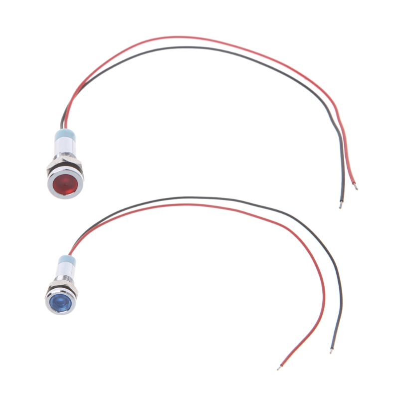 "YAM Stainless Steel 15mA 6mm 1/4"" DC 24V LED Metal Indicator Pilot Custom Dash Light Lamp with Wire Red/Blue LED Color"