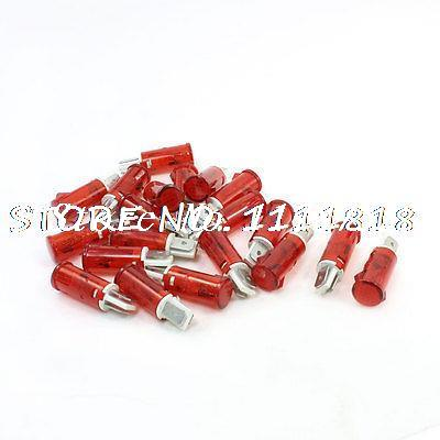 20 Pcs Red Panel Mounting 2 Pins Neon Indicator Lights AC 220V