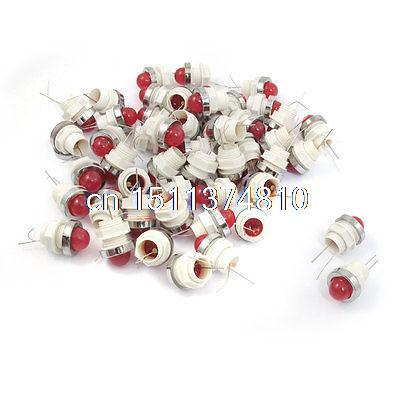 50 Pcs 10mm Threaded 6.3VDC Red LED Lamp Indicator Pilot Light AD11-10/20