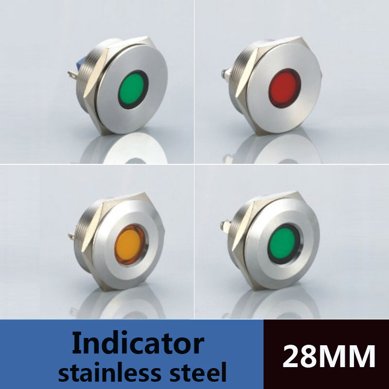 5pcs/lot water level indicator dia.28mm flat head 2pins pcb type led indicator lamp 220v