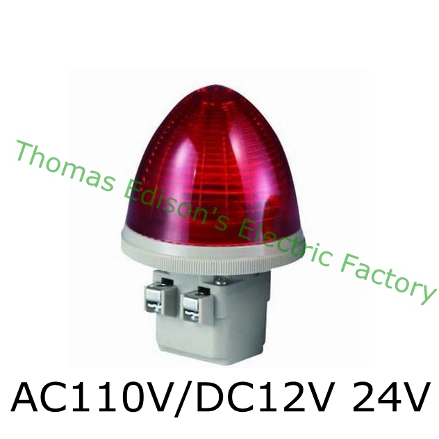 AC 110V/DC12V 24V 2 Screw Terminals Red LED Steady Industrial Signal Light Tower Lamp Light Tower Lamp S-TX