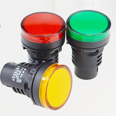 30mm Green AD16-30D/S LED Indicator Lights Signal Pilot Lamp Flashlight Buzzer 12/24/36/220/380V x5