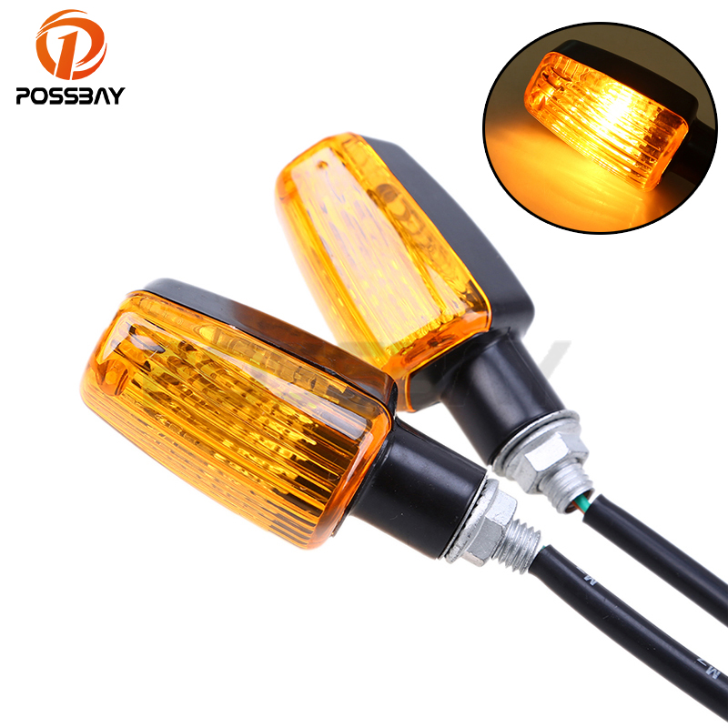 POSSBAY 12V Universal Motorcycle Turn Signal Light Indicators Amber Light For Honda CB 600 Hornet CB400 Shadow 750 Harley Yamaha
