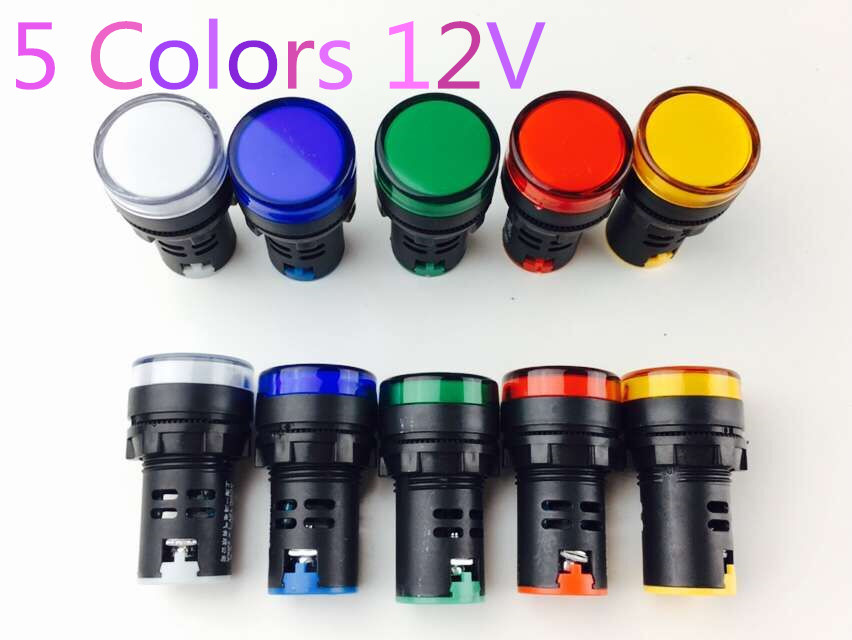 AD16-22 12V signal lamp LED power indicator  Red Yellow Green Blue White 22MM  10Pcs