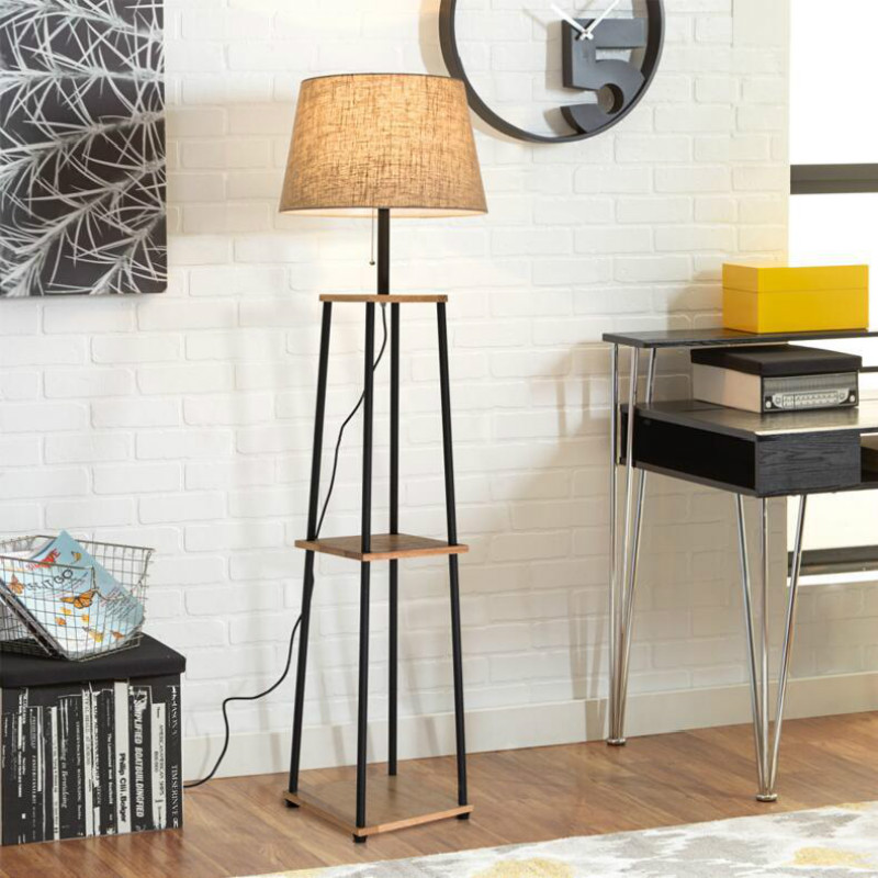 New Simple Modern Nordic Creative Wood Iron Linen Led E27 Floor Lamp With Shelving For Living Room Sofa Lamp Bedroom Hall 2306