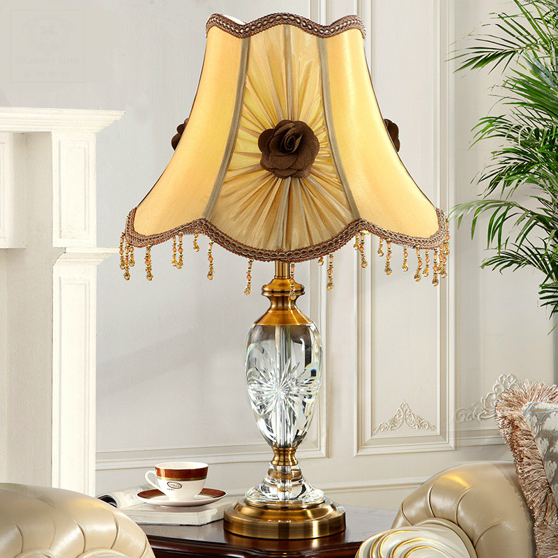 High End Luxurious European Carved K9 Crystal Fabric Rose Tassel Led E27 Table Lamp For Living Room Bedroom Bedside Wedding 1067
