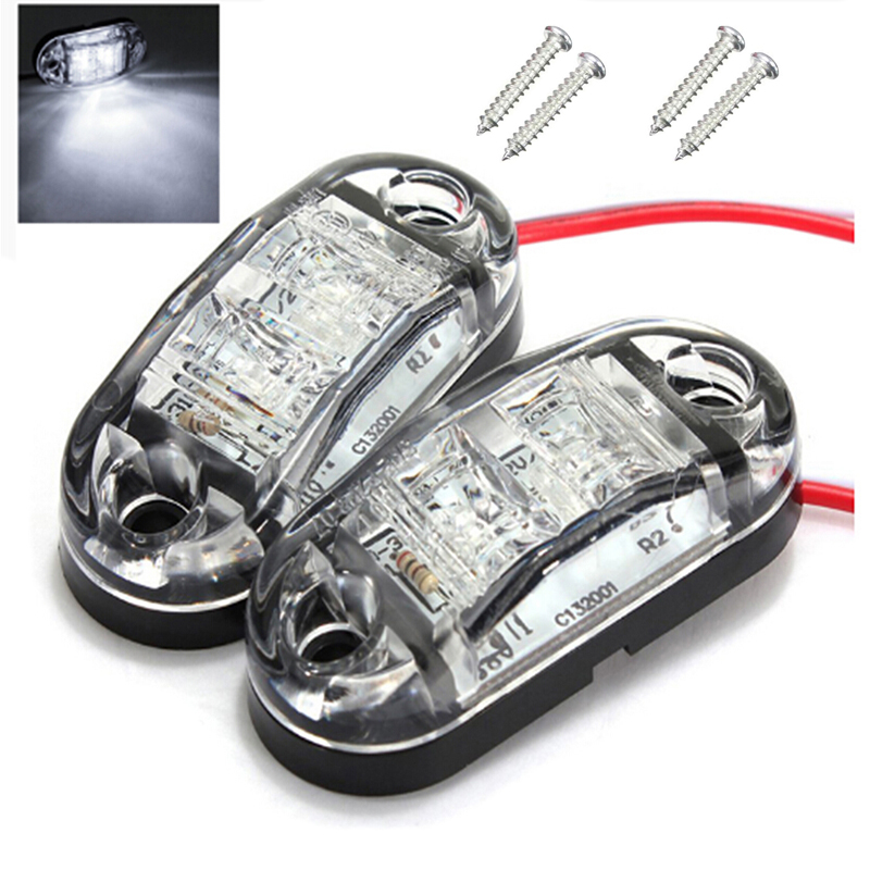 4 x LED side marker light truck camper van trailers e11 white