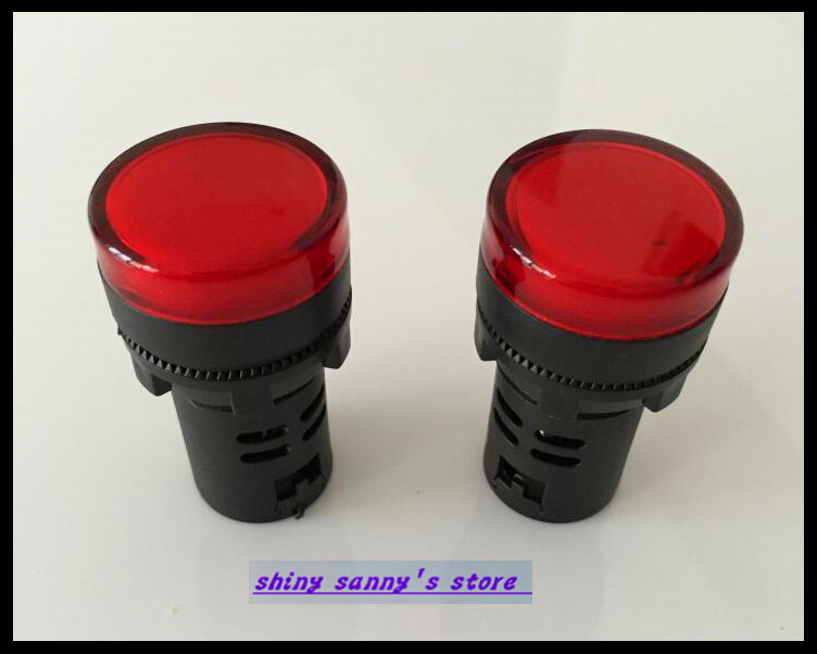 10PCS/Lot  Red AC220V  22mm Diameter AD16-22 LED Power Indicator Signal Light Lamp Used For AC