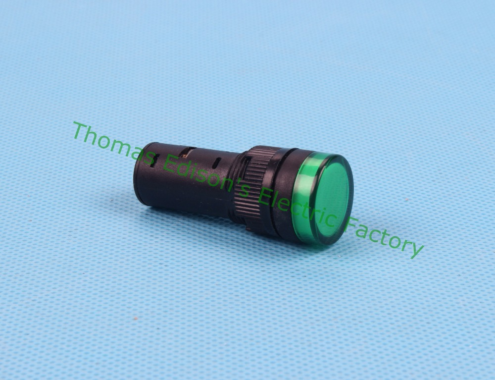 20PCS/Lot  DC 12V 16mm Diameter LED Power Indicator Signal Light Lamp AD16-16C Green
