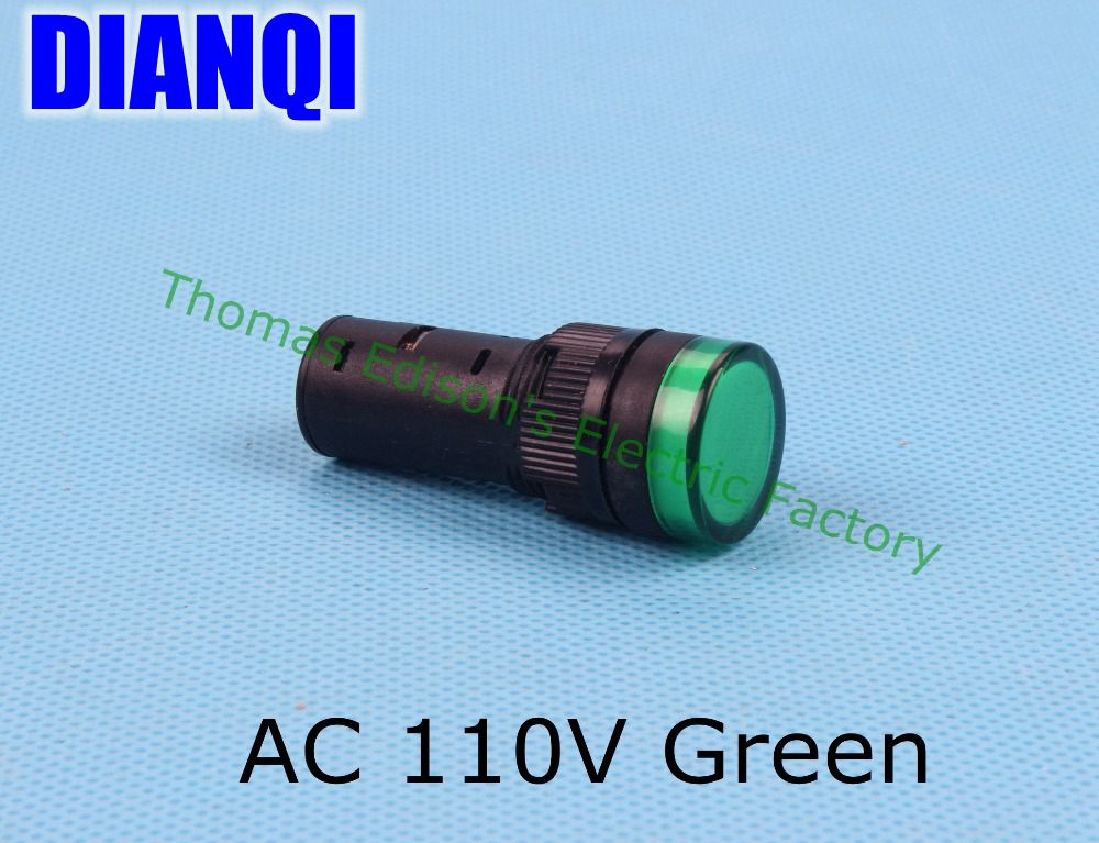 20PCS/Lot  AC 110V 16mm Diameter AD16-16C LED Power Indicator Signal Light Lamp Green