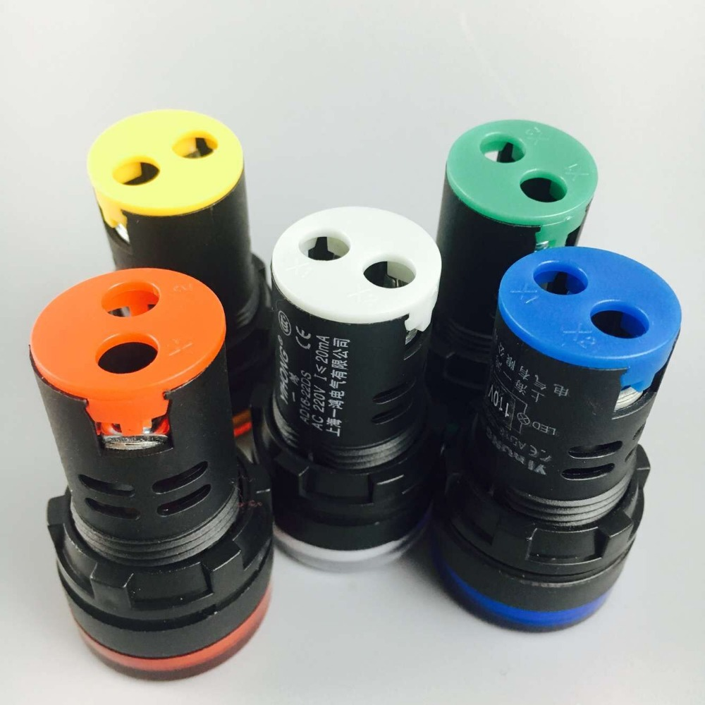 5Pcs Green red yellow blue white AD16-22DS 22mm Led mounting size Indicator Light voltage 36v