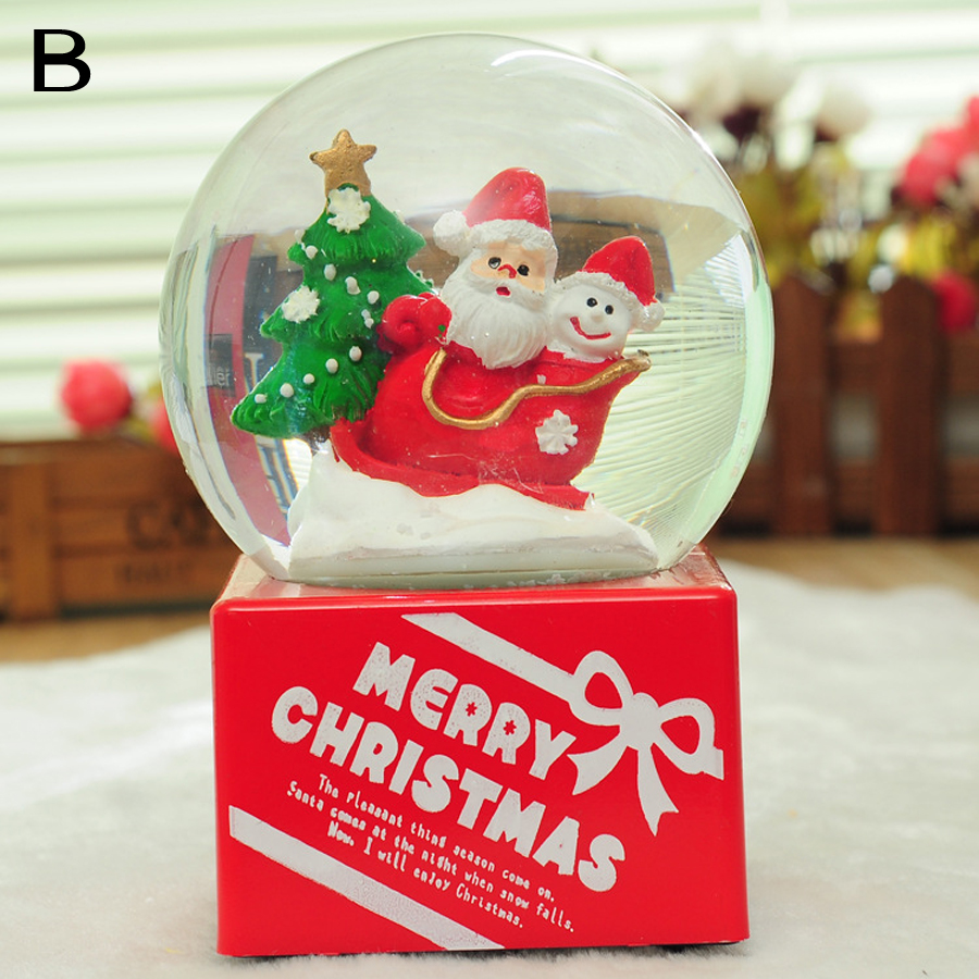 wholesale Santa Crystal Ball Music Box Christmas creative quality resin imported crystal gifts Christmas decorations for home