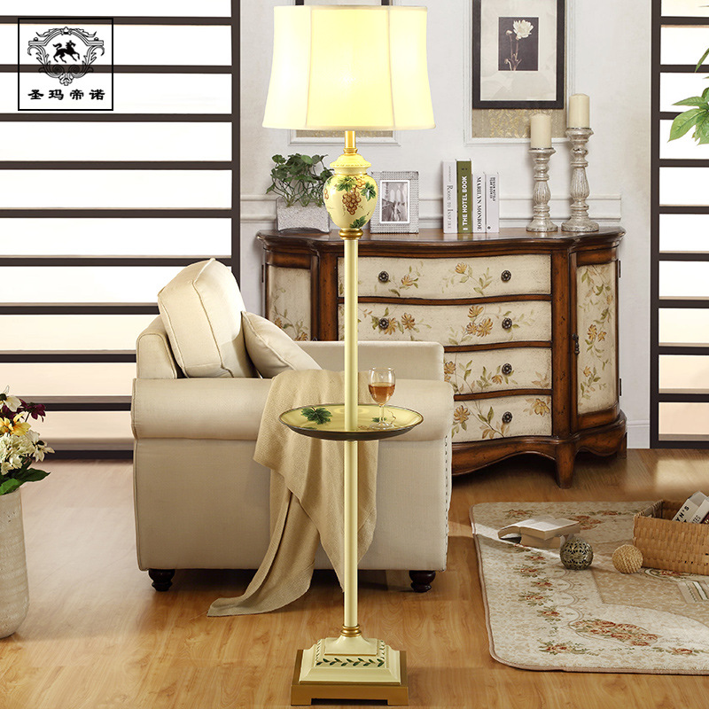 High End Retro European Creative Hand Painted Resin Fabric Floor Lamp With Plate Tray For Living Room Study Bedroom H 165cm 1065