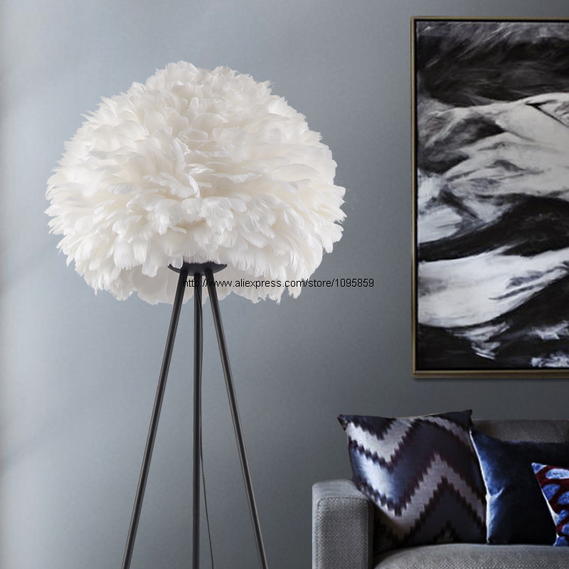 Modern Feather Ball Floor Lamp Light Bedroom White 3 Feet Standard Bedside Lighting