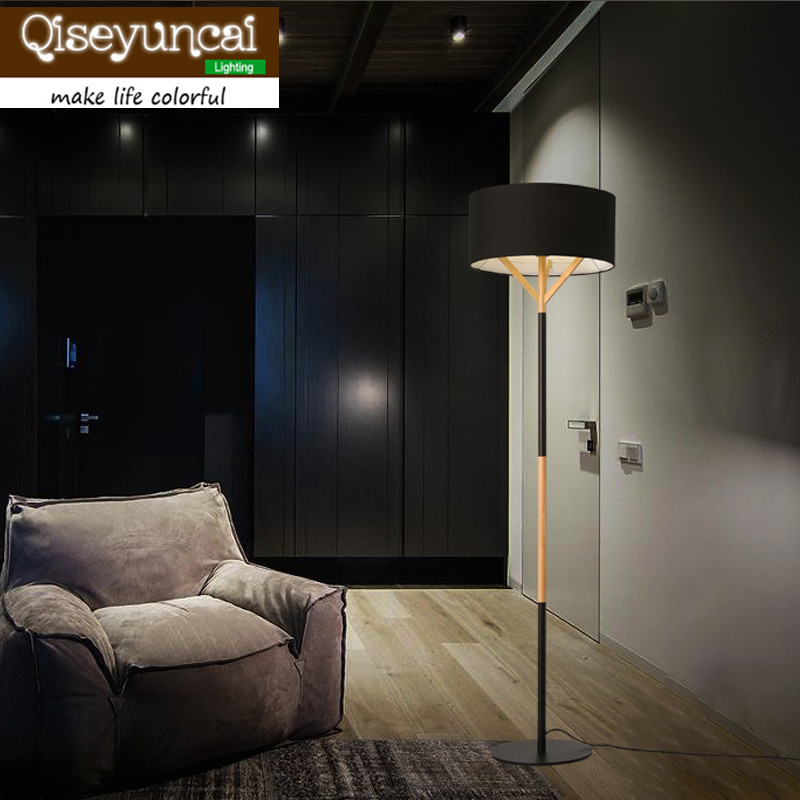 Qiseyuncai Nordic modern wooden Floor lights minimalist fashion vertical bedroom study living room cloth Floor Lamps