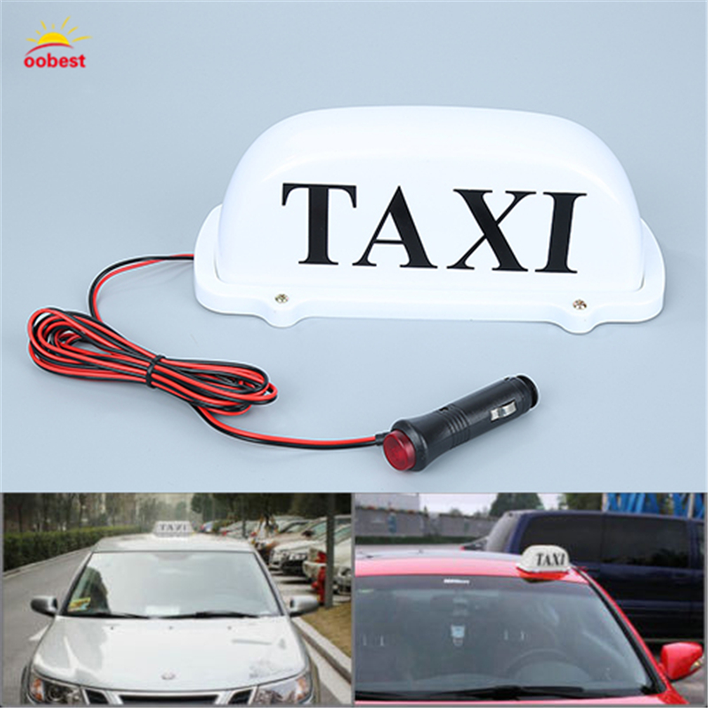 Large Size 12V Car Taxi Meter Cab Topper Roof Sign Light Lamp Bulb Magnetic Base white indicator lights lamps car styling