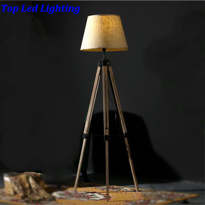 Vintage American Country Wood Fabric Led E27 Floor Lamp For
