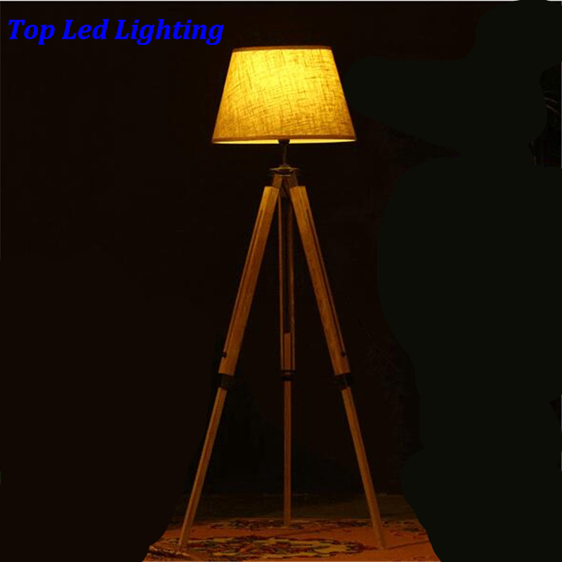 Vintage American Country Wood Fabric Led E27 Floor Lamp for Living Room Bedroom Restaurant 3 Legs Wood Floor Lamp 1185