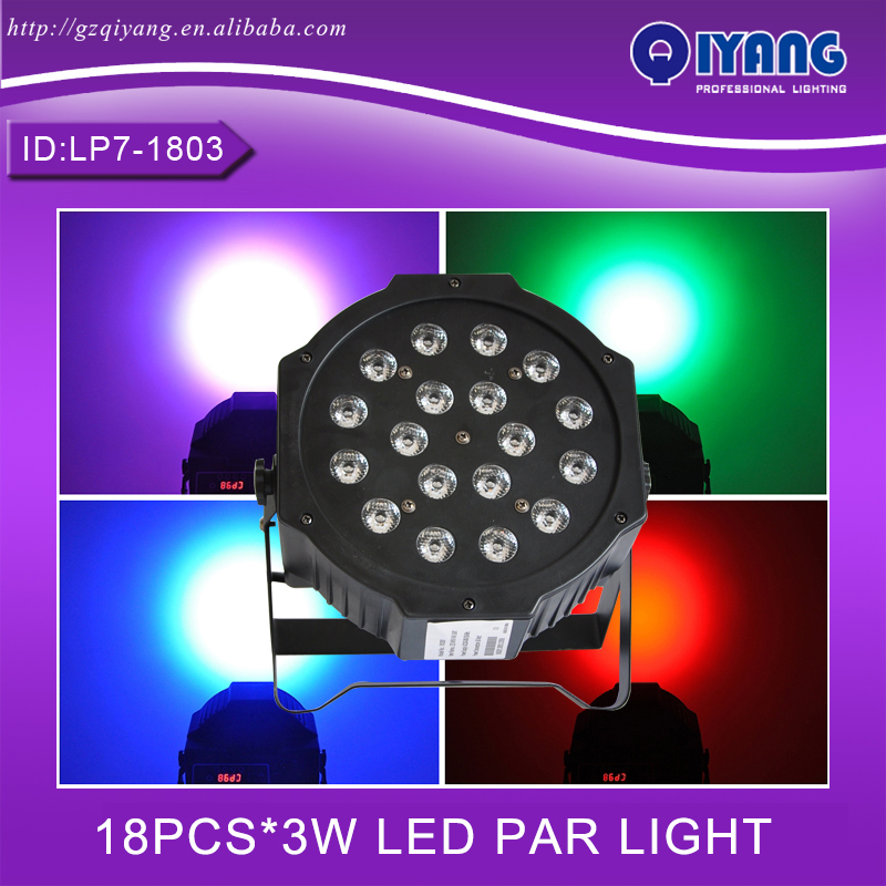 LP7-1803 18pcs*3W hot sell cheap price professional ktv disco rgb plastic flat led par light