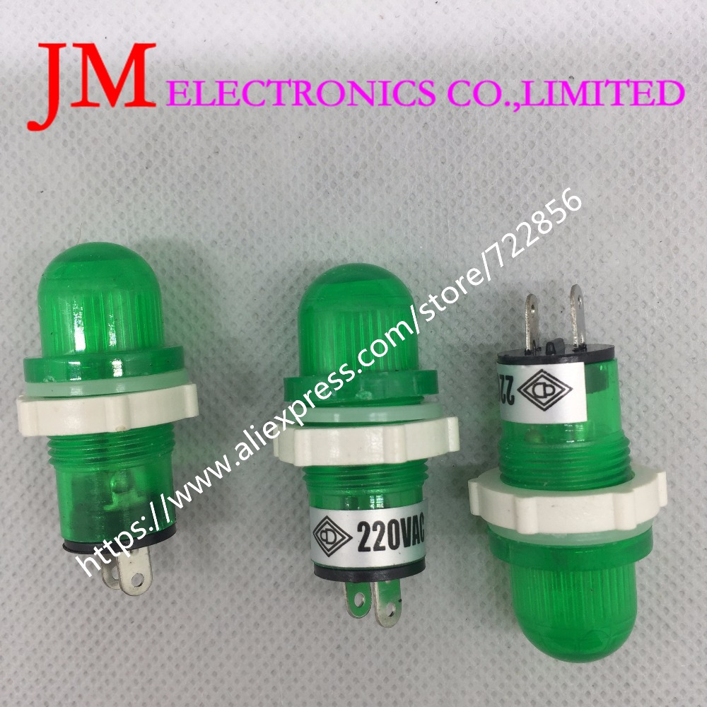 50 Pcs Ac 220V 15Mm Green Bulb Power Signal Indicator Pilot Light Lamp Xd15-2
