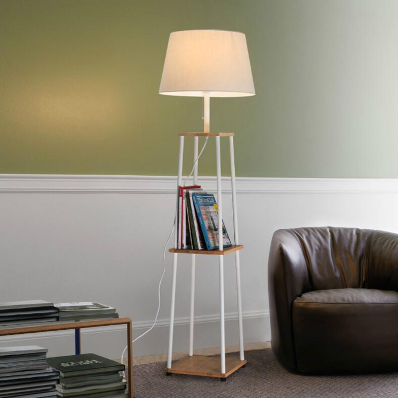 Simple Modern Nordic Creative Vertical Oak Wood Iron Fabric Led E27 Floor Lamp For Bedroom Living Room Sofa Light H 156cm 1050
