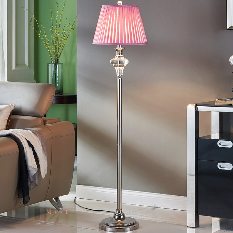 European K9 Crystal Pink Fabric Led E27 Floor Lamp With Foot Switch For Bedroom Living Room Wedding Deco H 147cm 80-265v 2071