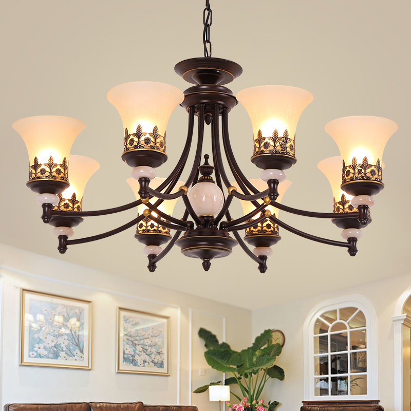 Classical Foyer Chandeliers living room Glass Chandelier Flush Mount Retro bedroom North Europe Style Foyer Chandelier Lighting